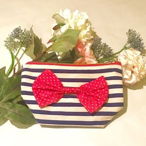 Handbags - Red Bow White Blue Stripes Makeup Pencil Bag Pouch